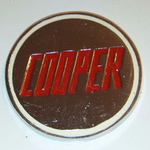 Vintage Cooper Car badge, Solid Metal Red Lettering @sold@
